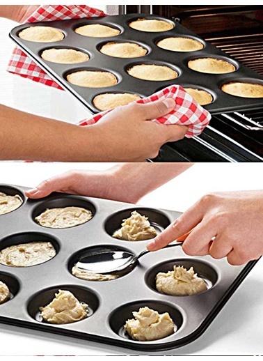 Kitchen Love Metal Yapışmaz 12Li Muffin Kalıbı Renkli